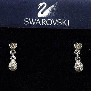 Swarovski Silver Crystal Heart Dangle Earrings